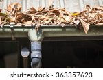 Clogged Gutter And Leafs