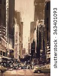Painting Of City Street With...