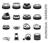 dim sum   japanese food icons | Shutterstock .eps vector #363406193