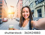 pretty mixed race woman taking... | Shutterstock . vector #363424883