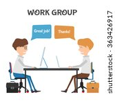 happy workers praising each... | Shutterstock .eps vector #363426917