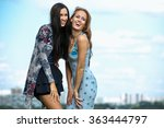 two girls with long hair stand... | Shutterstock . vector #363444797