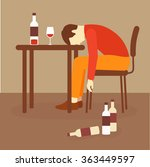 alcoholism  alcohol addiction ... | Shutterstock .eps vector #363449597