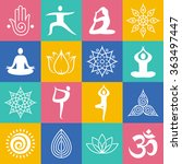 set of yoga poses  symbols and... | Shutterstock .eps vector #363497447