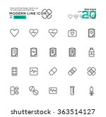 outline icon set of medical...