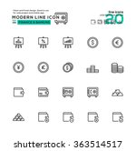 outline icon set of finance and ...
