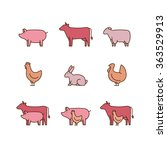farm animal outline icon set.... | Shutterstock .eps vector #363529913