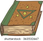closed book with green and... | Shutterstock .eps vector #363532667