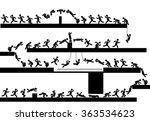 icon man runner jumps and stunts | Shutterstock .eps vector #363534623