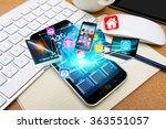 modern mobile phone in office...   Shutterstock . vector #363551057