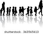 group of children on a walk. | Shutterstock .eps vector #363565613