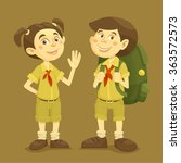 boy and girl scout character... | Shutterstock .eps vector #363572573