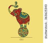 red elephant on the ball. the...   Shutterstock .eps vector #363625343