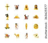 set of vector flat design egypt ...