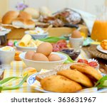 breakfast or brunch table... | Shutterstock . vector #363631967