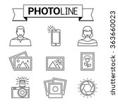 photo camera and pictures line... | Shutterstock .eps vector #363660023