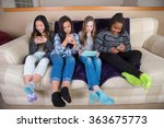 group of kids on their mobile... | Shutterstock . vector #363675773