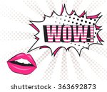wow  comic pop art lips and... | Shutterstock .eps vector #363692873
