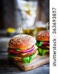 homemade burgers on rustic... | Shutterstock . vector #363693857