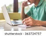 working on laptop  close up of... | Shutterstock . vector #363724757