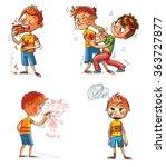 bad behavior. two schoolboys... | Shutterstock .eps vector #363727877