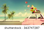 Vintage Pink Classic Car With...