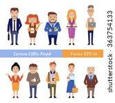 set of funny cartoon office... | Shutterstock .eps vector #363754133