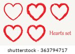 set of grunge hearts.vector...