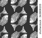 seamless zentangle fish... | Shutterstock . vector #363808103