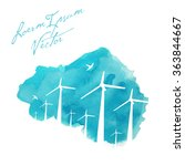 wind turbines on painted... | Shutterstock .eps vector #363844667