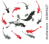 sumi e hand drawn ink fishes ... | Shutterstock . vector #363845627