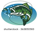 large mouth bass fish mascot | Shutterstock .eps vector #363850583