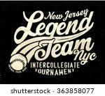 vintage college tee print... | Shutterstock .eps vector #363858077