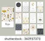Calendar 2016. Templates with flowers, bugs and grasshoppers in a garden. Art posters, backgrounds texture with floral and nature paint. Vector. | Shutterstock vector #363937373