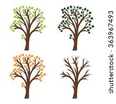 seasons  four trees at spring... | Shutterstock .eps vector #363967493