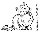 cat black and white. vector eps
