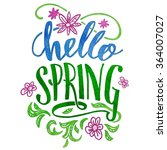 hello spring. watercolor hand...   Shutterstock .eps vector #364007027