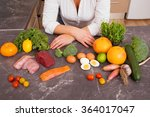 woman in kitchen with different ... | Shutterstock . vector #364017047