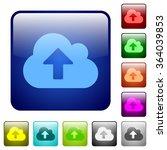 set of cloud upload color glass ...