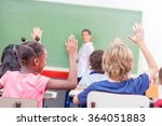 back view of primary classroom. | Shutterstock . vector #364051883