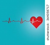 red heart with ekg   medical... | Shutterstock . vector #364058717