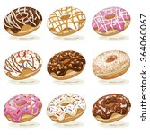 set of assorted sweet donuts... | Shutterstock .eps vector #364060067