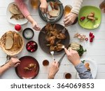 family having roasted chicken... | Shutterstock . vector #364069853
