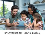 happy family using tablet in... | Shutterstock . vector #364116017