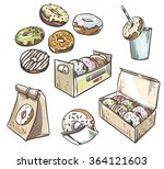 selection of donuts.  takeaway... | Shutterstock .eps vector #364121603