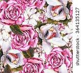 romantic seamless floral... | Shutterstock . vector #364135127