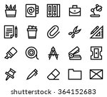 stationery line icon set. pixel ... | Shutterstock .eps vector #364152683