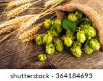 Barley And Hop Cones On  Rusti...