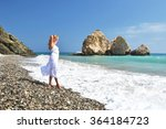 girl looking to the sea near... | Shutterstock . vector #364184723