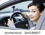 pretty girl in a car  | Shutterstock . vector #364188857